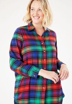 Classic Flannel Shirt, GREEN PLAID