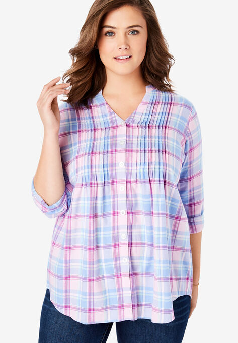 654753ebb57 Pintucked Flannel Shirt