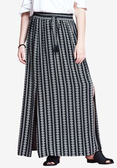 Slit Maxi Skirt by Chelsea Studio®, ALL IN STRIPE, hi-res