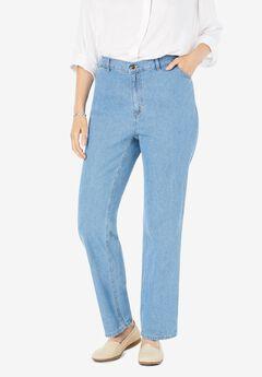 Side-Elastic Straight Leg Cotton Jean, LIGHT STONEWASH