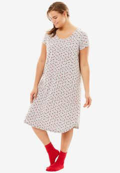 Short Scoopneck Sleepshirt with Free Socks by Dreams & Co.®, HEATHER GREY DOTS, hi-res