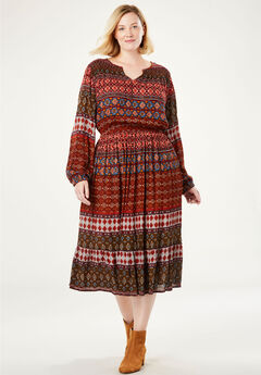 Peasant Crinkle Dress, MULTI GEO