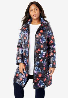 Packable long puffer jacket,