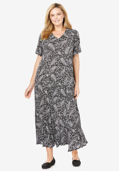 Crinkle Dress, BLACK STENCIL PAISLEY