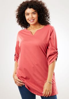 Perfect Notch Neck Tunic with Rolled Sleeves,