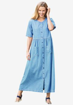 Short-Sleeve Denim Dress, LIGHT STONEWASH