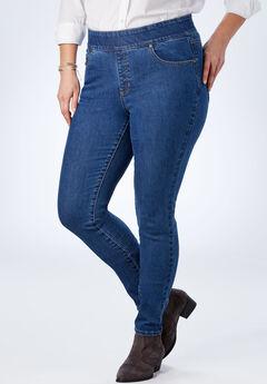 Tummy Tamer Pull-On Straight Leg Jean, MEDIUM STONEWASH