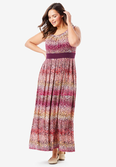 Banded Waist Print Maxi Dress| Plus Size Maxi Dresses | Woman Within