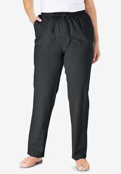 Seersucker pants, BLACK, hi-res