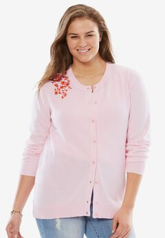 Classic cardigan sweater, PINK FLORAL EMBROIDERY, hi-res