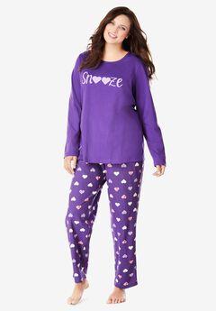Long Sleeve Knit PJ Set by Dreams & Co.®, PLUM BURST SNOOZE