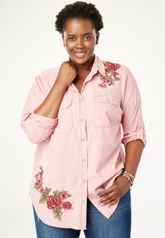Embroidered Corduroy Button-Down Shirt,