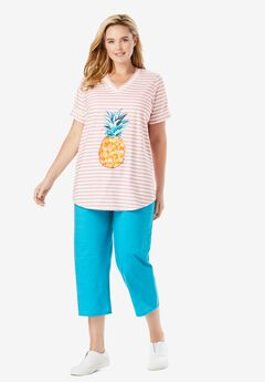 Two-Piece V-Neck Tunic & Capri Set, SOFT PINK STRIPE PINEAPPLE