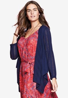 Cascade front short pointelle cardigan by Chelsea Studio®,