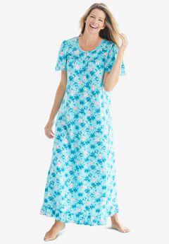 Long Floral Print Cotton Gown by Dreams & Co.®,