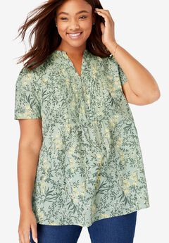 Pintucked Half-Button Tunic, WILLOW GREEN PAINTERLY BLOSSOM