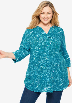 Three-Quarter Sleeve Tab-Front Tunic, DEEP TEAL WATERCOLOR PAISLEY