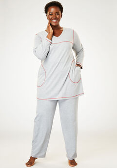 Topstitched PJ Set by Dreams & Co.®, HEATHER GREY RED, hi-res