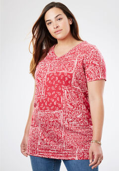 Printed Shirred V-Neck Perfect Tunic, CHERRY PATCHWORK