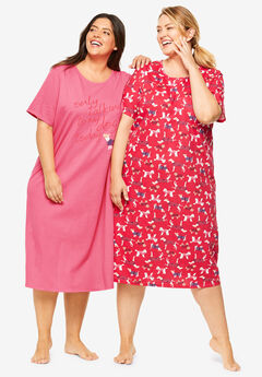 2-Pack Long Sleepshirts by Dreams & Co.®, DAZZLING PINK DOG