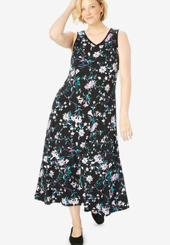 Sleeveless print fit-and-flare dress,