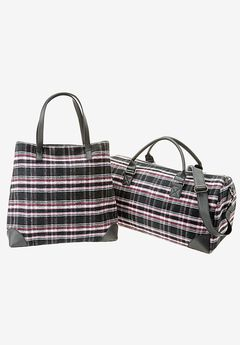 Plaid Flannel Travel Set, BLACK STITCHED PLAID, hi-res