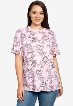 Disney Minnie Mouse T-Shirt All-Over Sketch Print Pink,