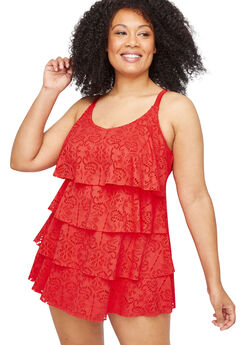 Crochet Flounce Swimdress,