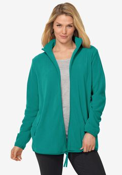 Zip-Front Microfleece Jacket, BRILLIANT JADE