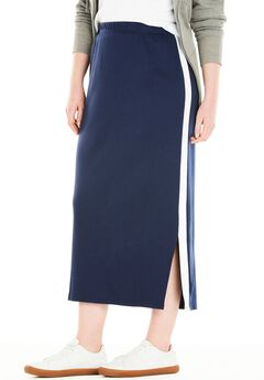 Side-Stripe Long Skirt,