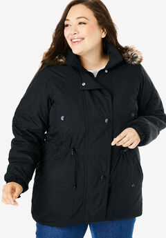Taslon® Anorak Coat, BLACK, hi-res