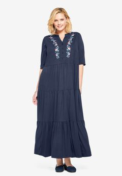 Elbow-Sleeve Tiered Henley Dress,
