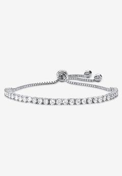 "Round Cubic Zirconia, Bolo Bracelet (4mm), in silvertone, 10"" Adjustable,"