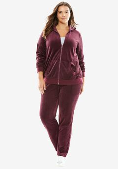 Two-Piece Velour Hoodie Set,