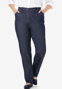Back-Elastic Straight Leg Cotton Jean, INDIGO