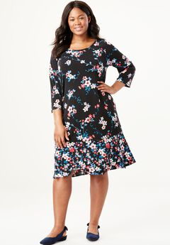 Mixed Print Ruffle Hem Dress,