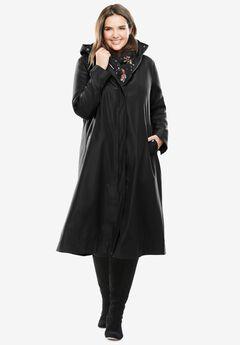 Water repellent long raincoat, BLACK, hi-res