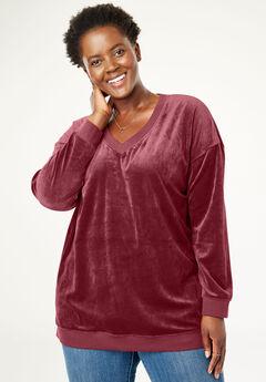 Velour V-Neck Sweatshirt, RICH BURGUNDY