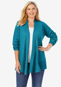 Open Front Cable Cardigan,