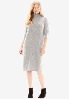 Mock neck dress, MEDIUM HEATHER GREY, hi-res