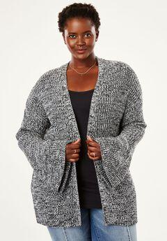 Bell Sleeve Cardigan by Chelsea Studio®, BLACK WHITE MARLED, hi-res