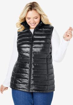 Packable puffer vest, BLACK, hi-res