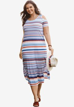 Cold-Shoulder A-Line Dress, WHITE MULTI STRIPE, hi-res