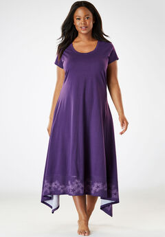 Trapeze Wide-Sweep Nightgown by Dreams & Co.®, RICH VIOLET STAR, hi-res