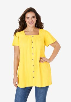 Button Front Gauze Tunic,