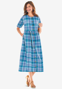 Short-Sleeve Seersucker Dress,