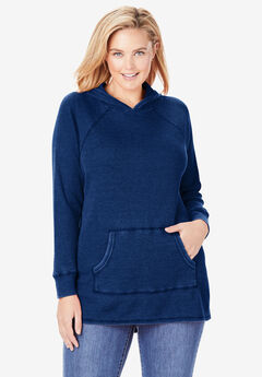 Washed Thermal Hooded Sweatshirt, EVENING BLUE