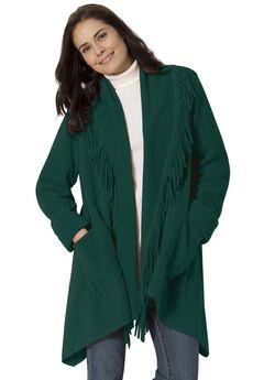 Fringed Shawl Collar Fleece Jacket, EMERALD GREEN, hi-res