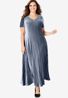 Pleated Velour Dress, NAVY