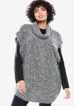Marled cowl neck poncho, BLACK WHITE, hi-res